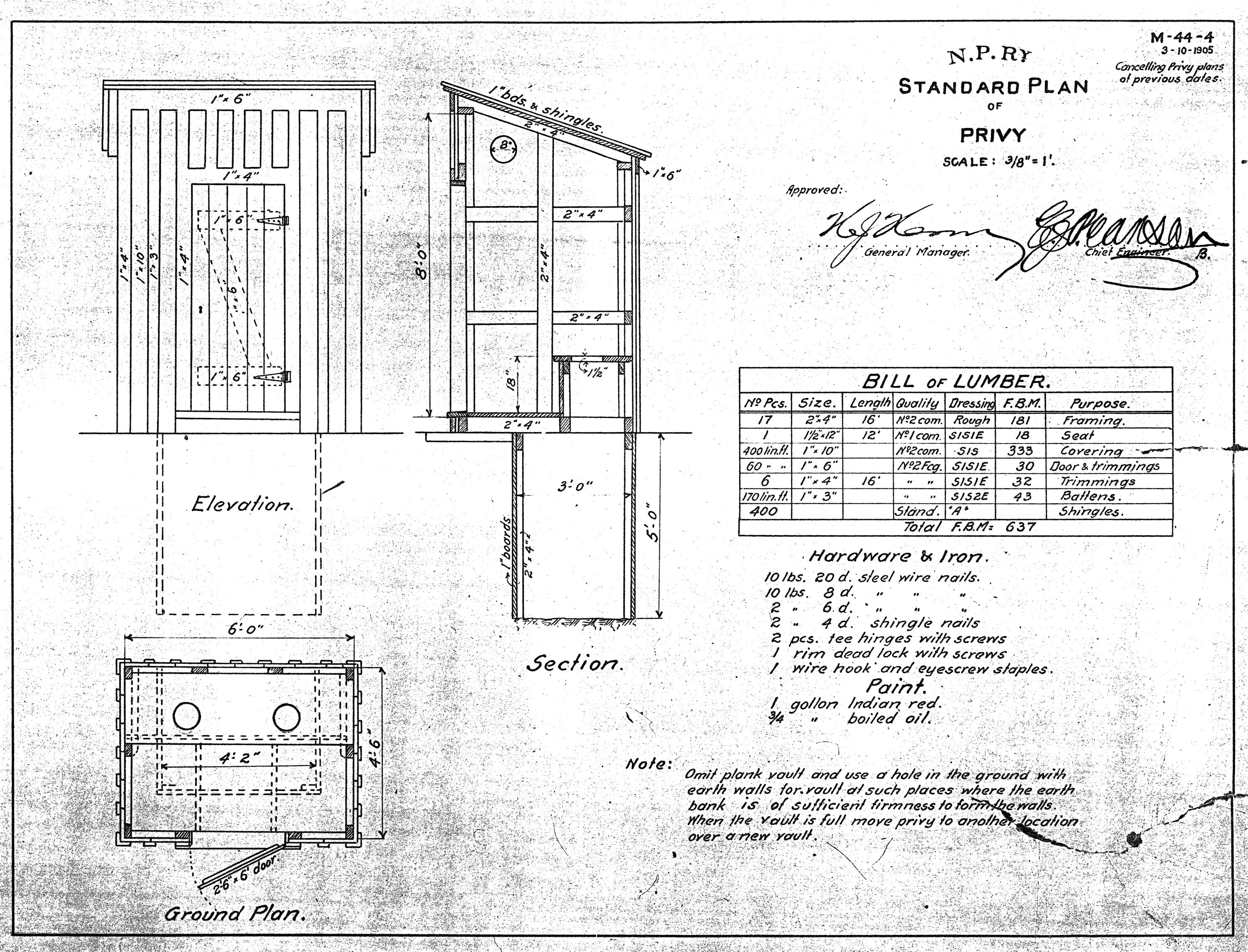 amazing outhouse plans. Privy Std Plan 3 10 1905 NP Structures  Plans Double Seat Standard