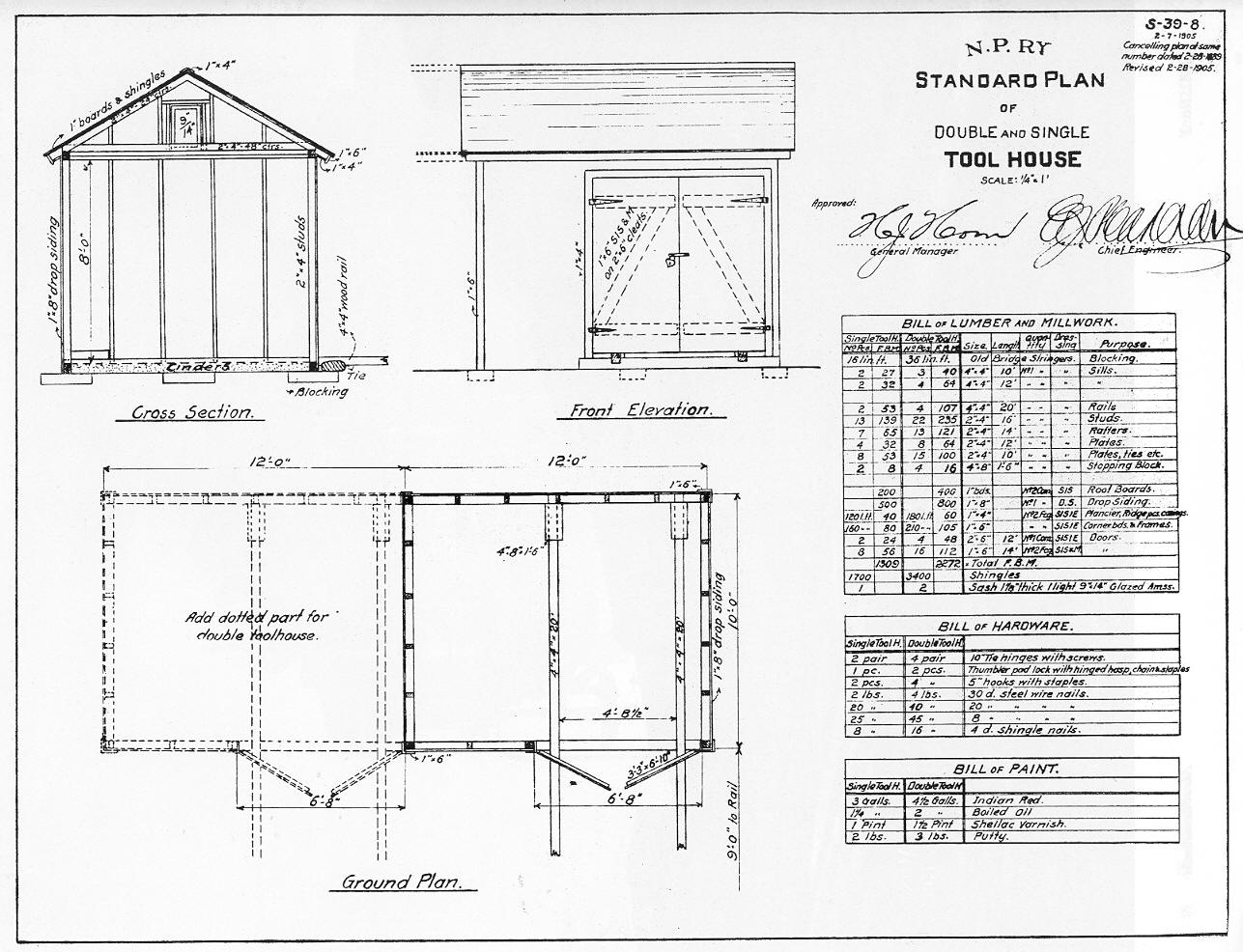 NP Structures & Plans Tool House Double & Single Standard Plan